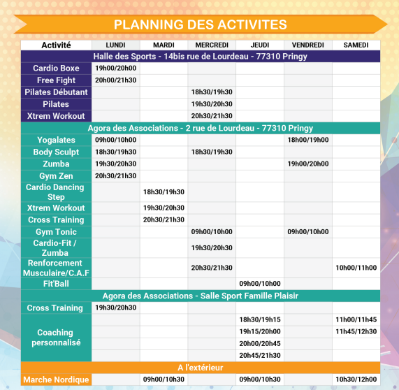 PLANNING HEBDO 2018-19 + TARIF