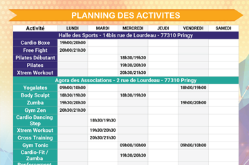 Planning hebdomadaire